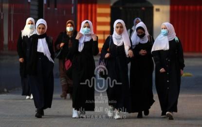 بالصور.. انتظام الدوام الدراسي في مدارس غزة في ظل انتشار فيروس كورونا
