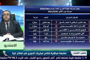 برنامج ملعب الشباب || متابعة مباشرة لنتائج مباريات الدوري في قطاع غزة || ليوم الإثنين 28-6-2021